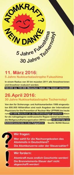 ATOMKRAFT? NEIN DANKE 5 Jahre Fukushima 30 Jahre Tschernobyl