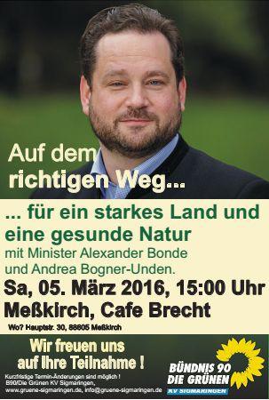Auf dem richtigen Weg - für ein starkes Land und eine gesundes Natur - Veranstaltung mit Alexander Bonde zu Landwirtschaft und Umweltthemen